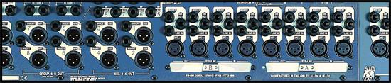 Gambar 2. Tampak belakang mixer, menunjukkan konektor modul input mono, modul input stereo, modul aux, matrix, subgroup, dan modul master.